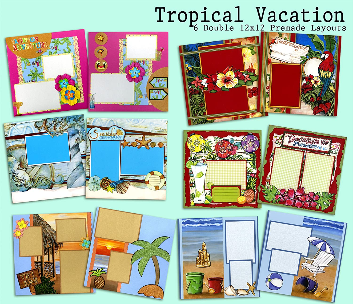 Tropical Vacation Scrapbook Kit - 5 Double Page Layouts