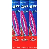 Ziploc Storage Bags, Two Gallon, 3 Pack, 12 ct
