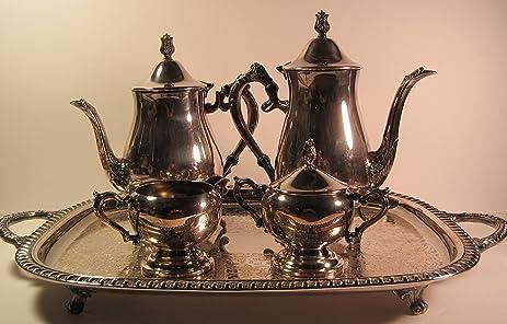 Leonard Silver/Rogers Silversmiths 6 Piece Silverplated Vintage Tea/Coffee Service & Amazon.com | Leonard Silver/Rogers Silversmiths 6 Piece ...