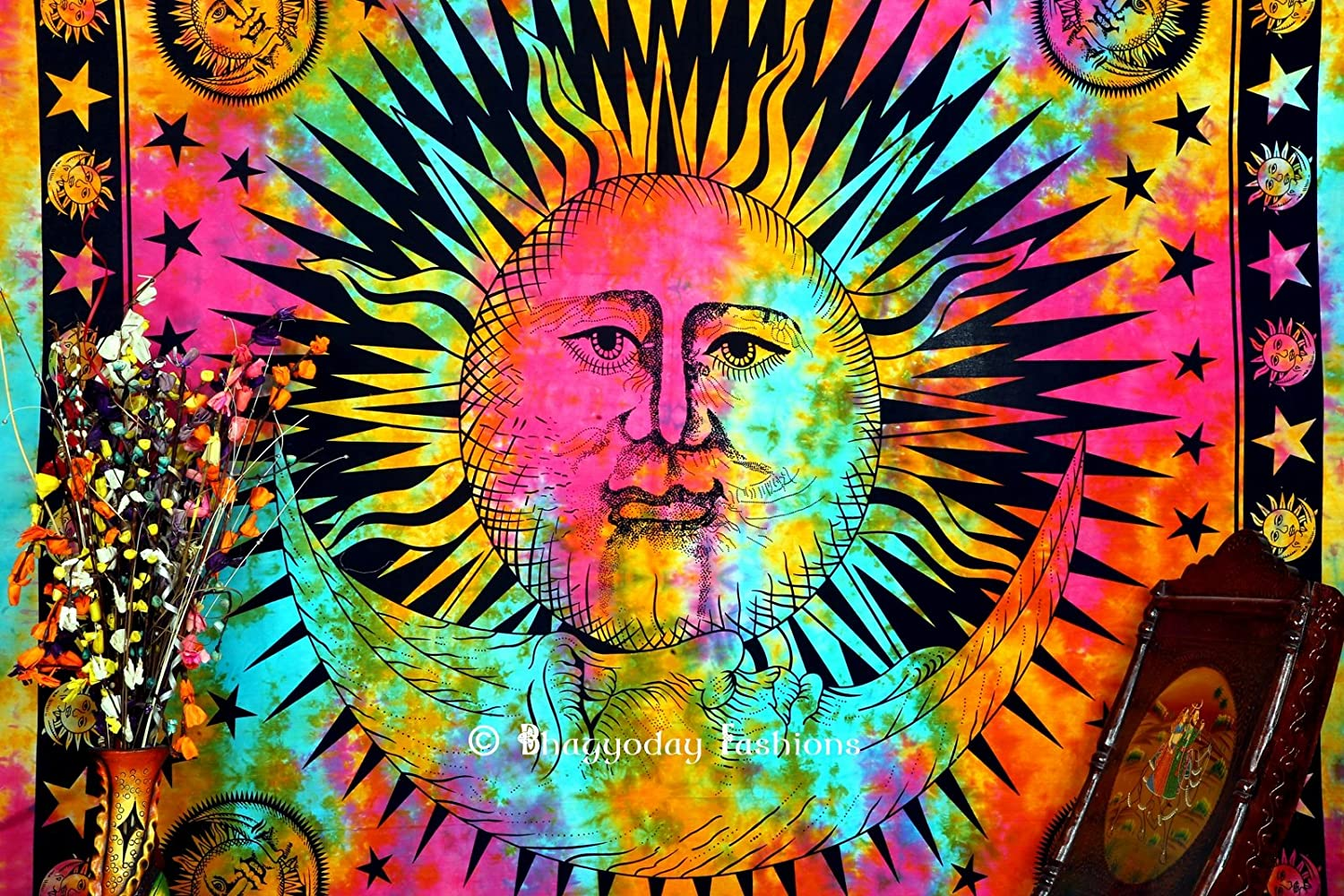 Indian Psychedelic Celestial Sun Moon Stars Tie Dye Tapestry, Good Morning Tapestry, Celestial Tapestry, Beach Throw, Bohemian Tapestries, Hippie Hippy Style, Gypsy Boho Wall Decor, Dorm Tapestry, Table Cloth, Picnic Blanket, 86x94 Inch. By Bhagyoday