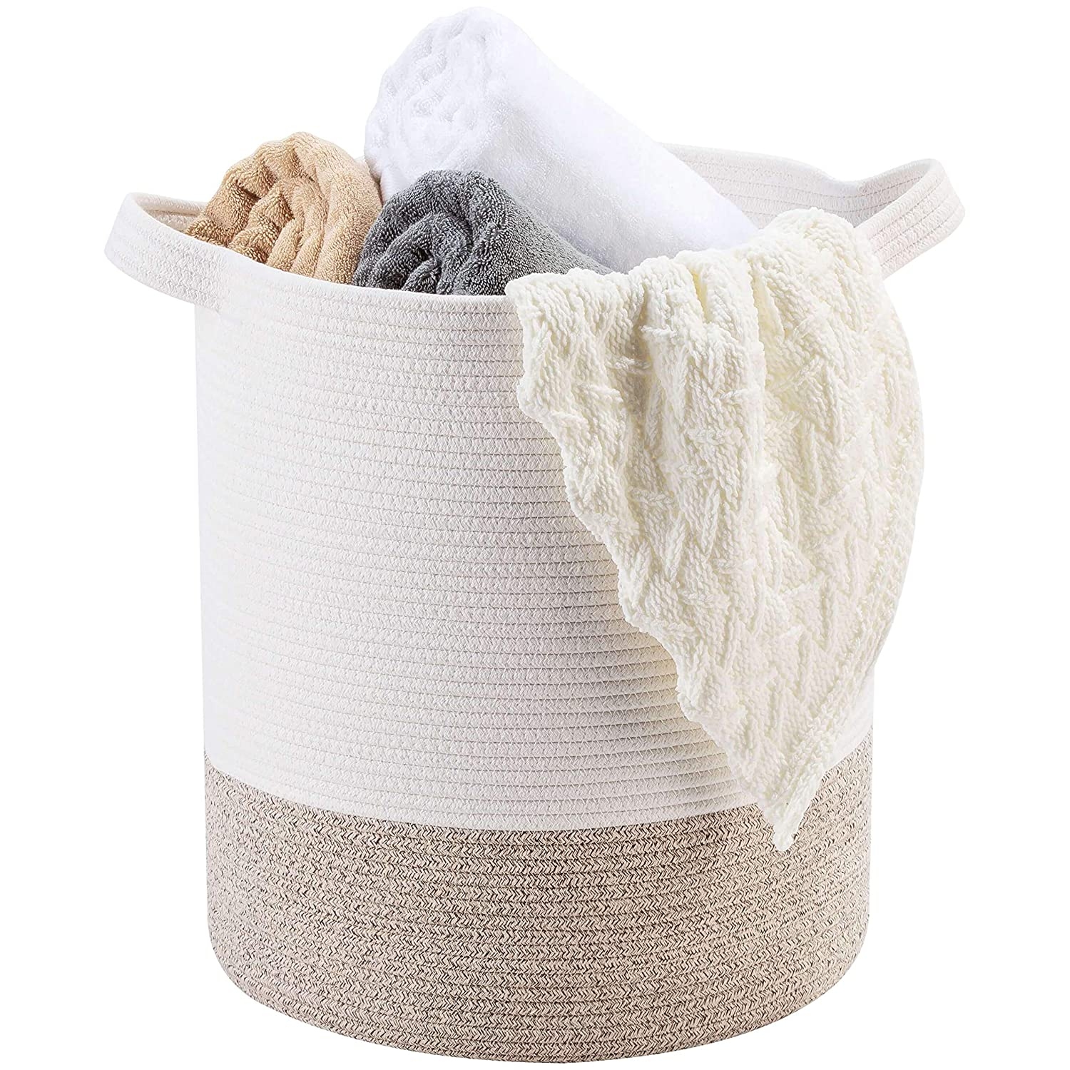 "MINTWOOD Design Large 18"" x 16"" Decorative Woven Cotton Rope Basket, Tall Laundry Basket/Hamper, Blanket Basket for Living Room, Storage Baskets with Handles for Toys, Throws, Pillows & Towels"