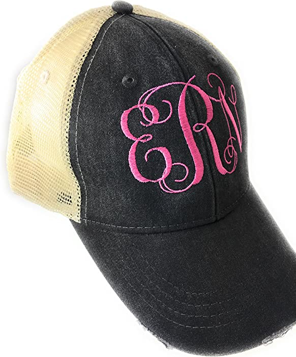 Mary s Monograms Monogrammed Distressed Trucker Hat Black at Amazon ... c2cd4673958