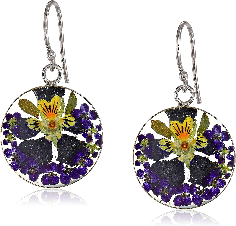Queen Anne/'s lace real flowers real earrings gold earrings Christmas gift Gold earrings blue flowers resin earrings