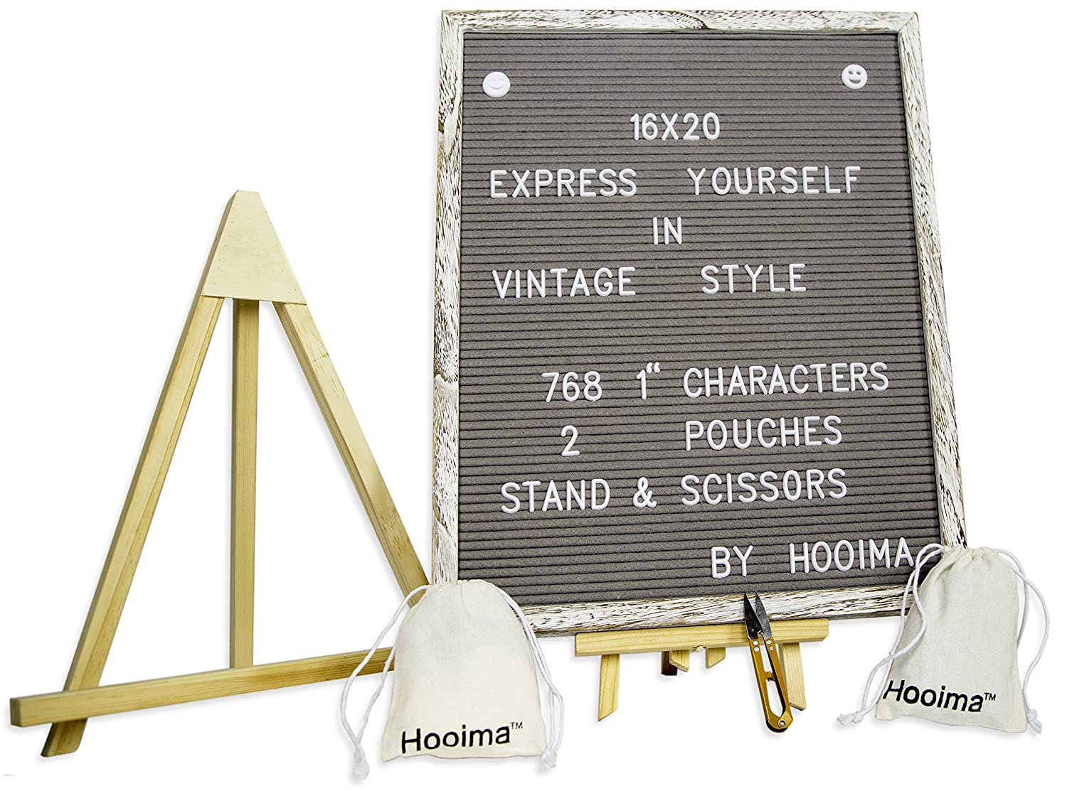 The 2018 Changeable Gray Felt Letter Board Message Sign with Elegent Wooden Stand | White Vintage Wood Frame with Extra Letters | Size 16x20 - All-in-One Pack Includes Also 2 Organizing Bags and More Eco Shop Landz