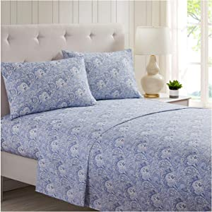 Mellanni Bed Sheet Set - Brushed Microfiber 1800 Bedding - Wrinkle, Fade, Stain Resistant - 4 Piece (Queen, Paisley Blue)