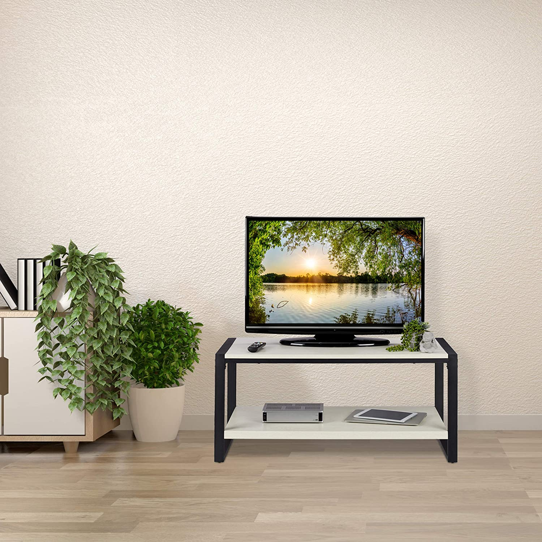 Relaxdays Mesa Centro con Estante Inferior, Mueble TV Veteado, Tablero de Partículas y Metal, 45 x 100 x 55 cm, Blanco: Amazon.es: Juguetes y juegos