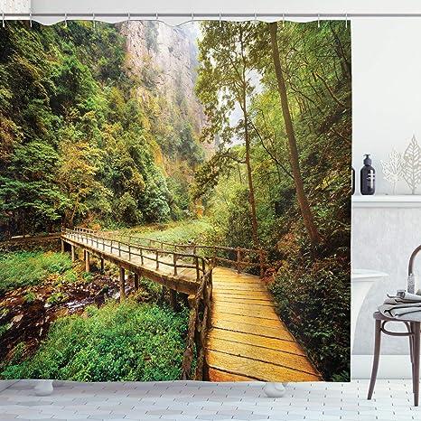 Fabric Shower Curtain home bathroom landscape river forest wilderness woodlands mountains bridge Photography rustic decor