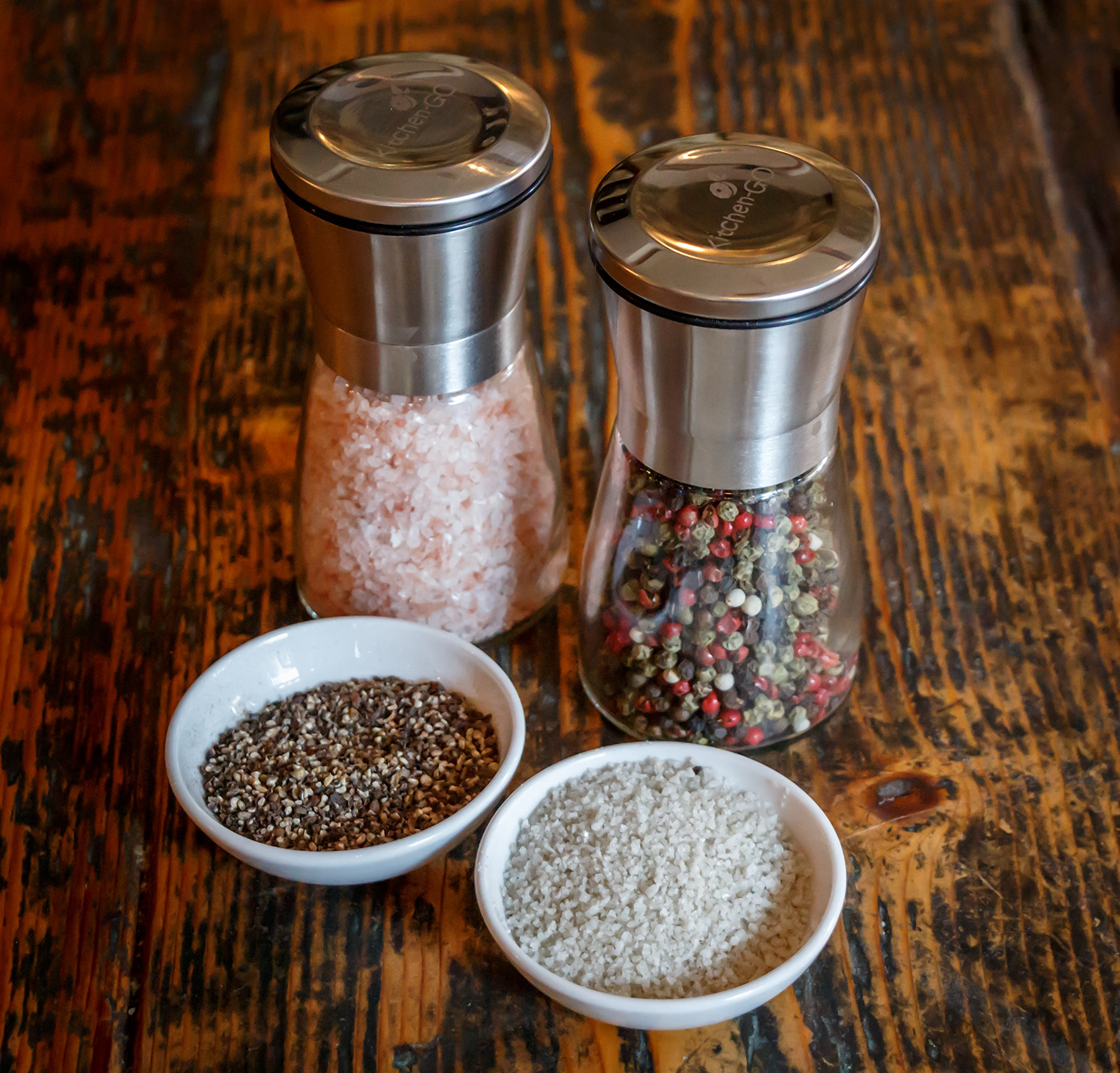 Salt and Pepper Grinder Set - Salt and Pepper Shakers for Professional Chef - Best Spice Mill with Brushed Stainless Steel, Special Mark, Ceramic Blades and Adjustable Coarseness by Kitchen-GO (Image #4)