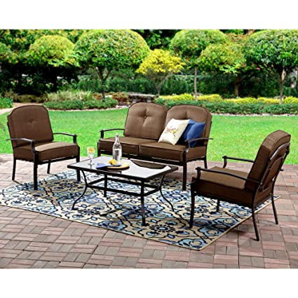 4pc Patio Set Brown Furniture One Table Two Sofa Chairs One Love Seat Metal  Frame Fabric