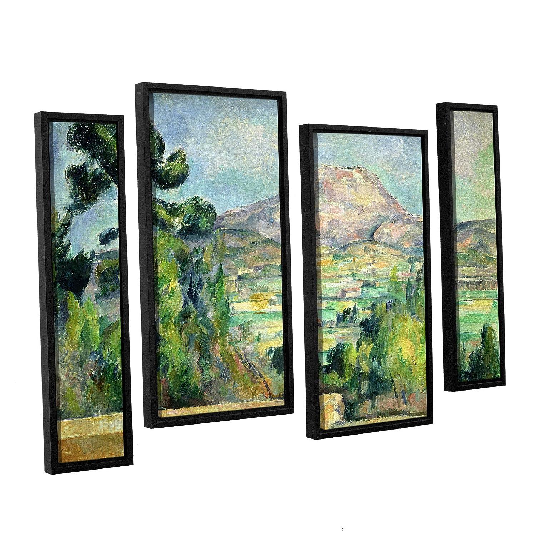 ArtWall 4 Piece Paul Cezannes Montagne Sainte Victoire II Floater Framed Canvas Staggered Set 24 x 36