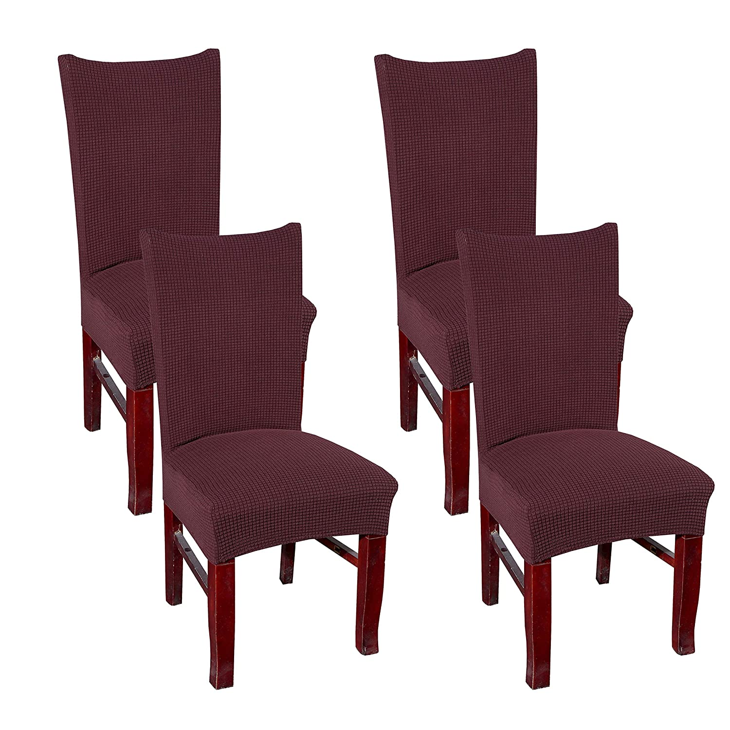 4 Pack, Grey Khalee Jacquard Super Stretch Dining Chair Covers Slipcover Protect Cover,