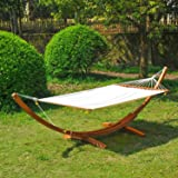 Outsunny 4 Metre Garden Outdoor Patio Wood Wooden Hammock With Arc Stand Standing Frame