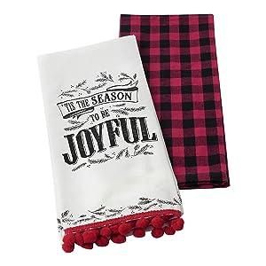 "Hallmark Home Decorative Cotton Kitchen Tea Towels (Set of 2) ""Tis the Season"" and Holiday Buffalo Plaid"