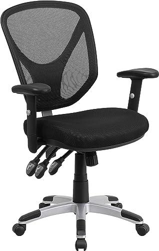 Flash Furniture Mid-Back Black Mesh Multifunction Swivel Ergonomic Task Office Chair