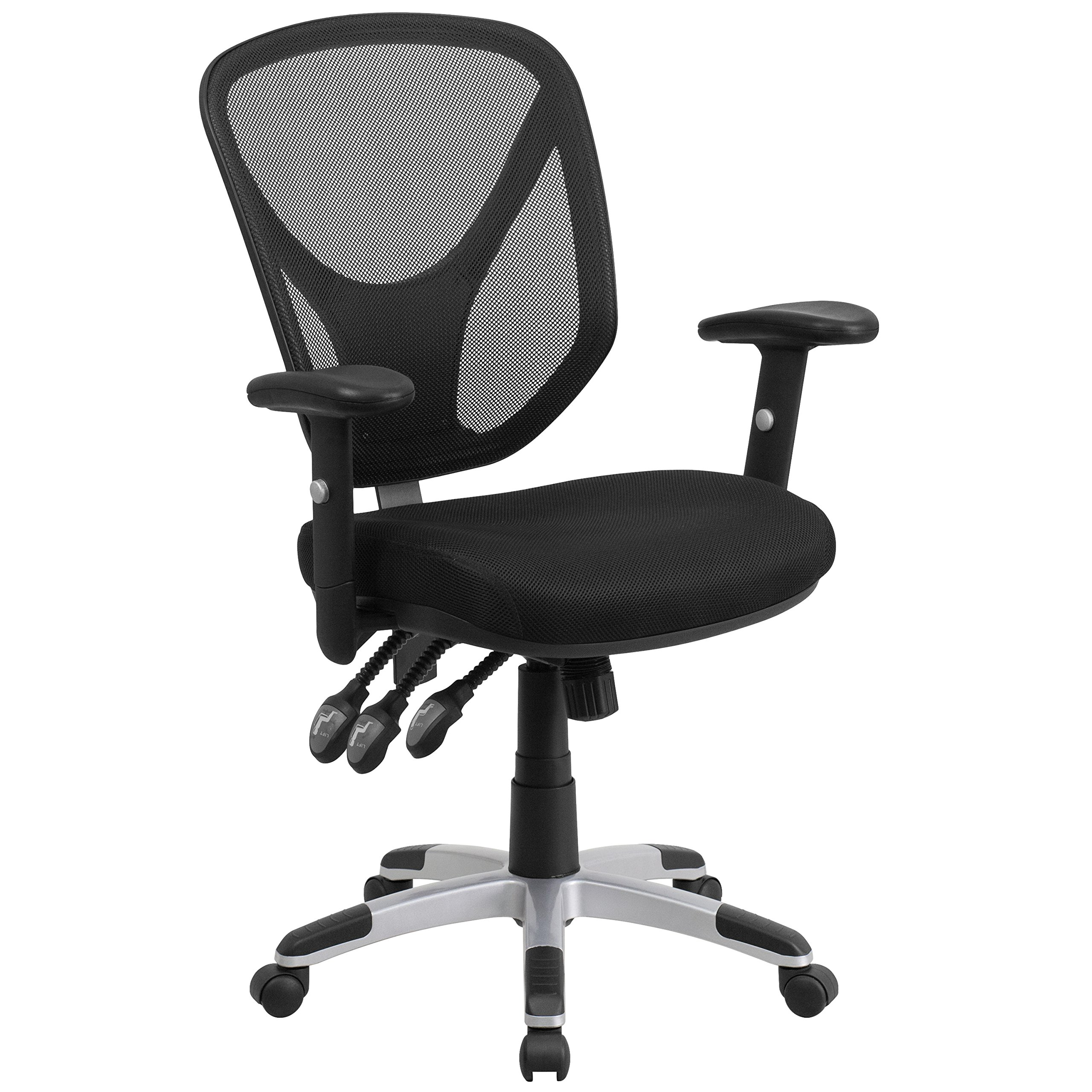 Flash Furniture Mid-Back Black Mesh Multifunction Swivel Task Chair with Adjustable Arms by Flash Furniture