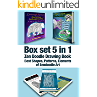 Box Set 5 in 1: Zen Doodle Drawing Book: Best Shapes, Patterns, Elements of Zendoodle Art