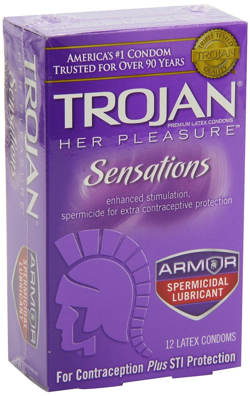 amazon com trojan her pleasure sensations spermicidal condoms