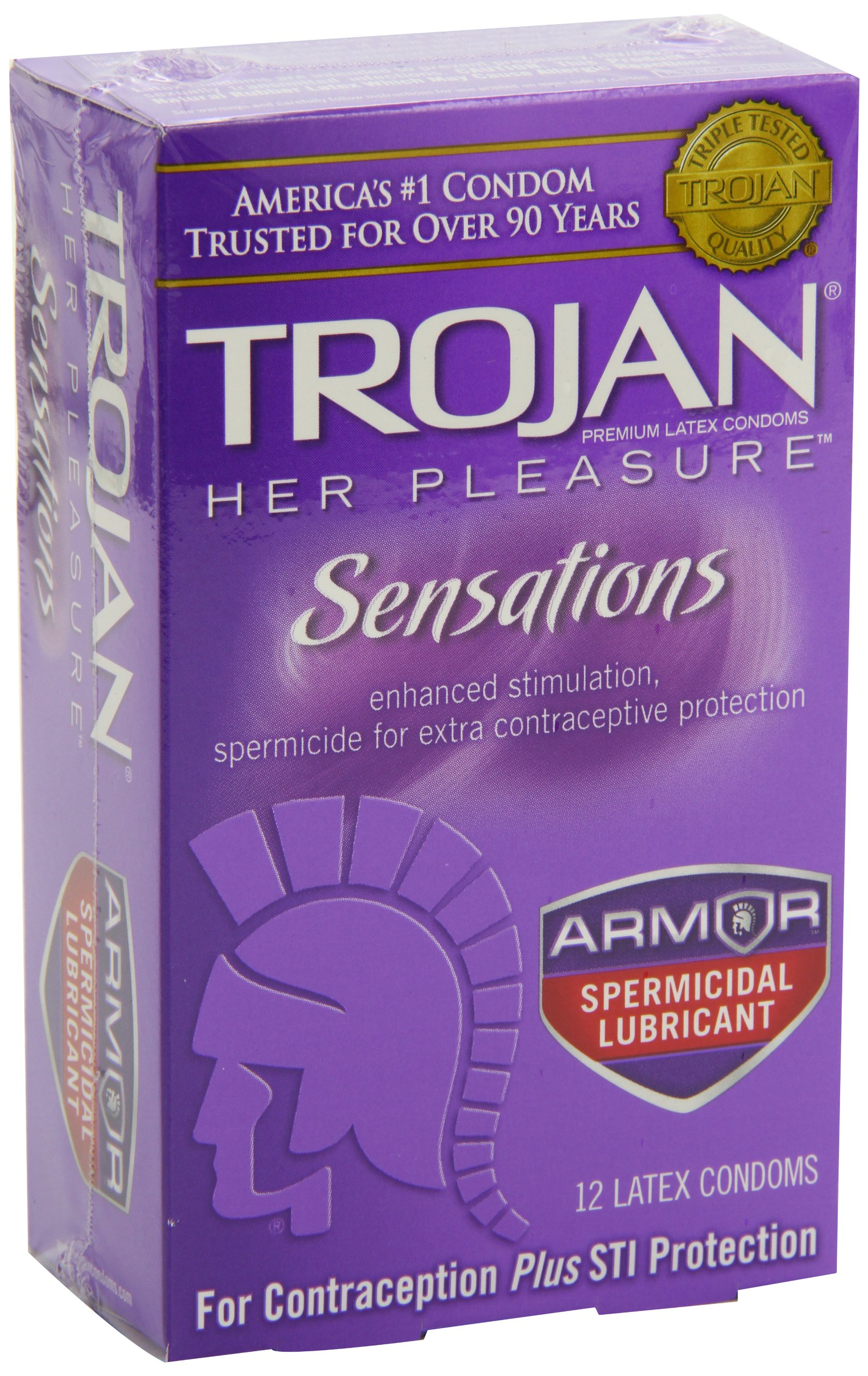 Trojan Her Pleasure Sensations Spermicidal Condoms, 12 Count