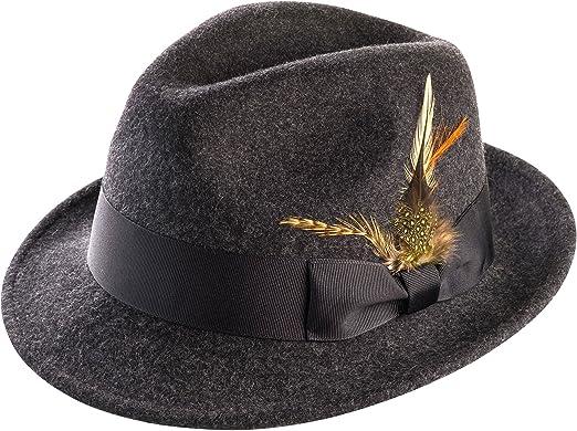 6e8ddab54f789 MONTIQUE Men's Snap Brim Crushable Felt Wool Fedora Hat H10 M, Charcoal