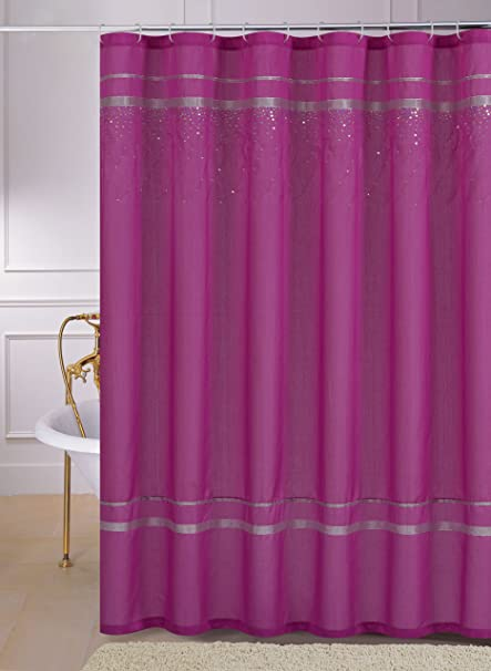 Faux Silk Fabric Shower Curtain With Silver Ribbon And Cascading Hologram Sequin Design Pink