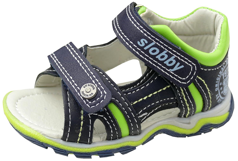 gibra Sandalen für Babys und Kleinkinder mit Fußbett, Dunkelblau/Apfelgrün, Art. 5247, Gr. 20-25 Dunkelblau/Apfelgrün