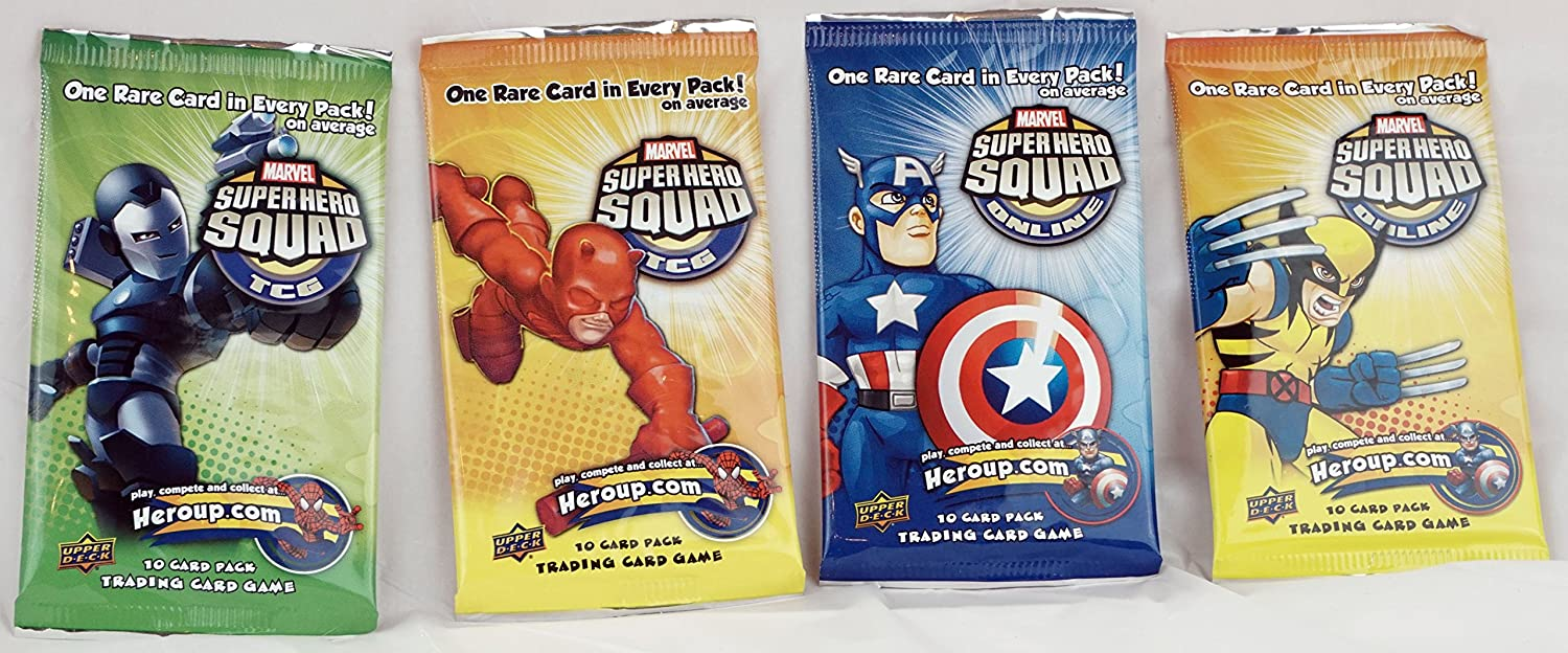 4 Packs of Marvel Super Squad Online Trading Cards Booster Packs Capt America Wolverine Daredevil Winter Warrior