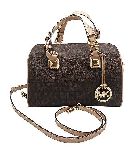 6cc332742ef4 Michael Kors Grayson Medium Satchel Signature Brown PVC: Handbags ...