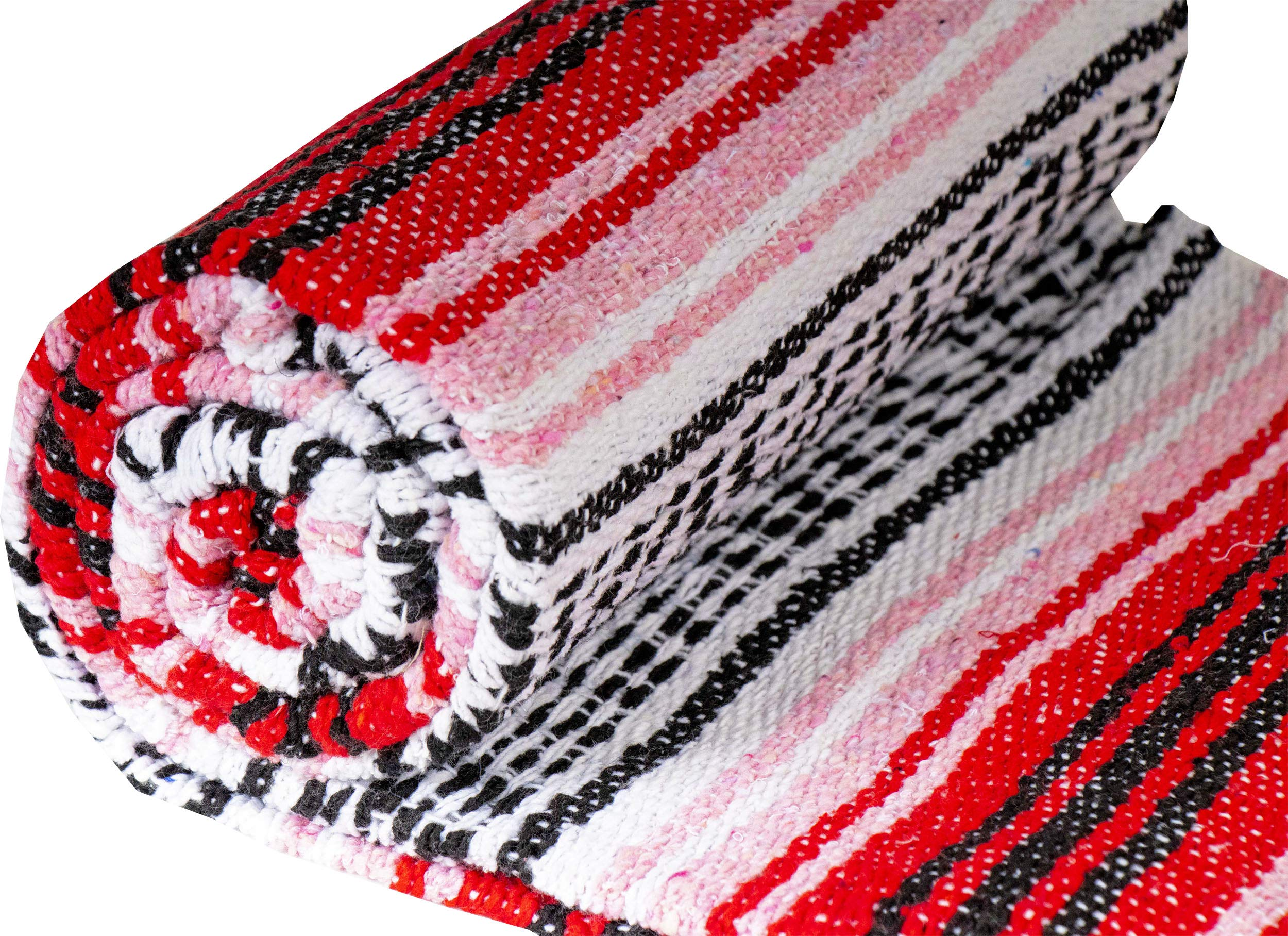 El Paso Designs Genuine Mexican Falsa Blanket - Yoga Studio Blanket, Colorful, Soft Woven Serape Imported from Mexico (Cherry) by El Paso Designs (Image #4)