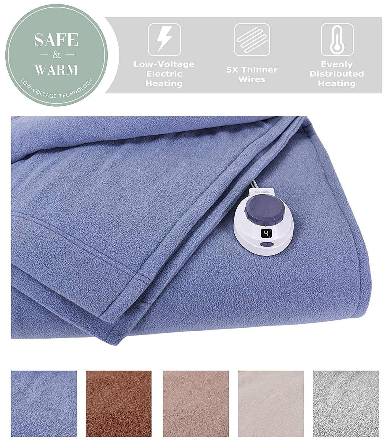 Slate bluee Full SoftHeat by Perfect Fit   Luxury Fleece Electric Heated Blanket with Safe & Warm Low-Voltage Technology (King, Beige)