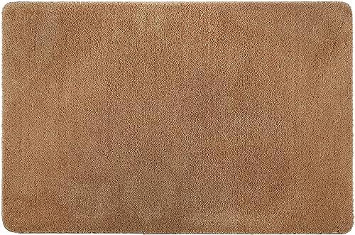 Ivalue 32 x48 Indoor Doormat Front Door Mat Non Slip Rubber Back Entrance Door Rug Supper Absorbent Water Dirts Trapper Entry Rug Low-Profile Washable Door Carpet Mat for Entryway 80120, Camel