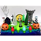 """Nightmare Before Christmas 17 Piece Birthday Cake Topper Set Featuring 2"""" to 3"""" Cake Topper Figures of Lock, Shock, Zero, Jack Skellington, Sally, Barrel and Other Decorative Themed Accessories"""