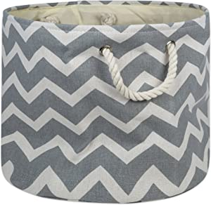 "DII Collapsible Polyester Storage Basket or Bin with Durable Cotton Handles, Home Organizer Solution for Office, Bedroom, Closet, Toys, & Laundry (Large Round – 15x16""), Gray Chevron"