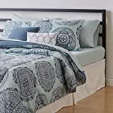 Amazon Basics 10-Piece Bed-in-a-Bag - Soft, Easy-Wash Microfiber - King, Sea Foam Medallion