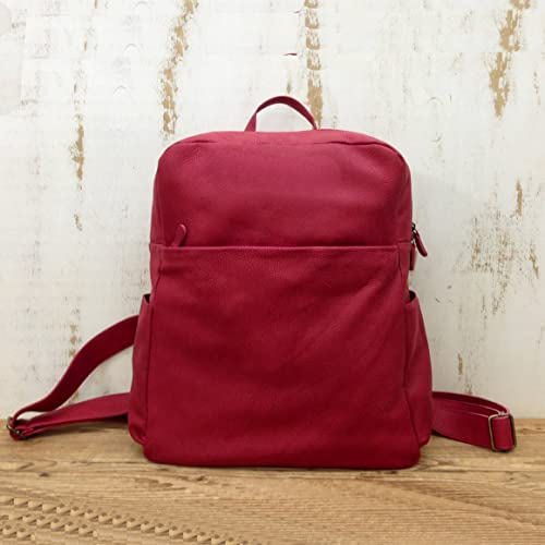 2ce0cb24e Red Leather women's Laptop backpack purse for Women Zipper MacBook Rucksack  travel Front pocket bag