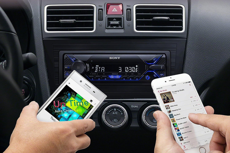 Autoradio multim/édia avec technologie Bluetooth Dual 4 x 55 W, Commandes vocales compatible avec Siri Eyes et Android, USB Sony DSX-A410BT Noir//Rouge