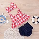 Baby Girls Plaid Ruffle Bowknot Tank Top+Denim