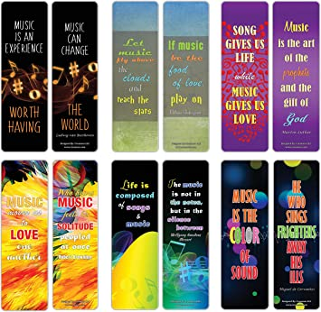 Office Products Office School Supplies Premium Gift Set Broadway Musical Gifts Adult Men Women Inspiring Word Sayings Quotes For Music Lovers 12 Pack Creanoso Music Can Change Life Bookmarks For Musicians