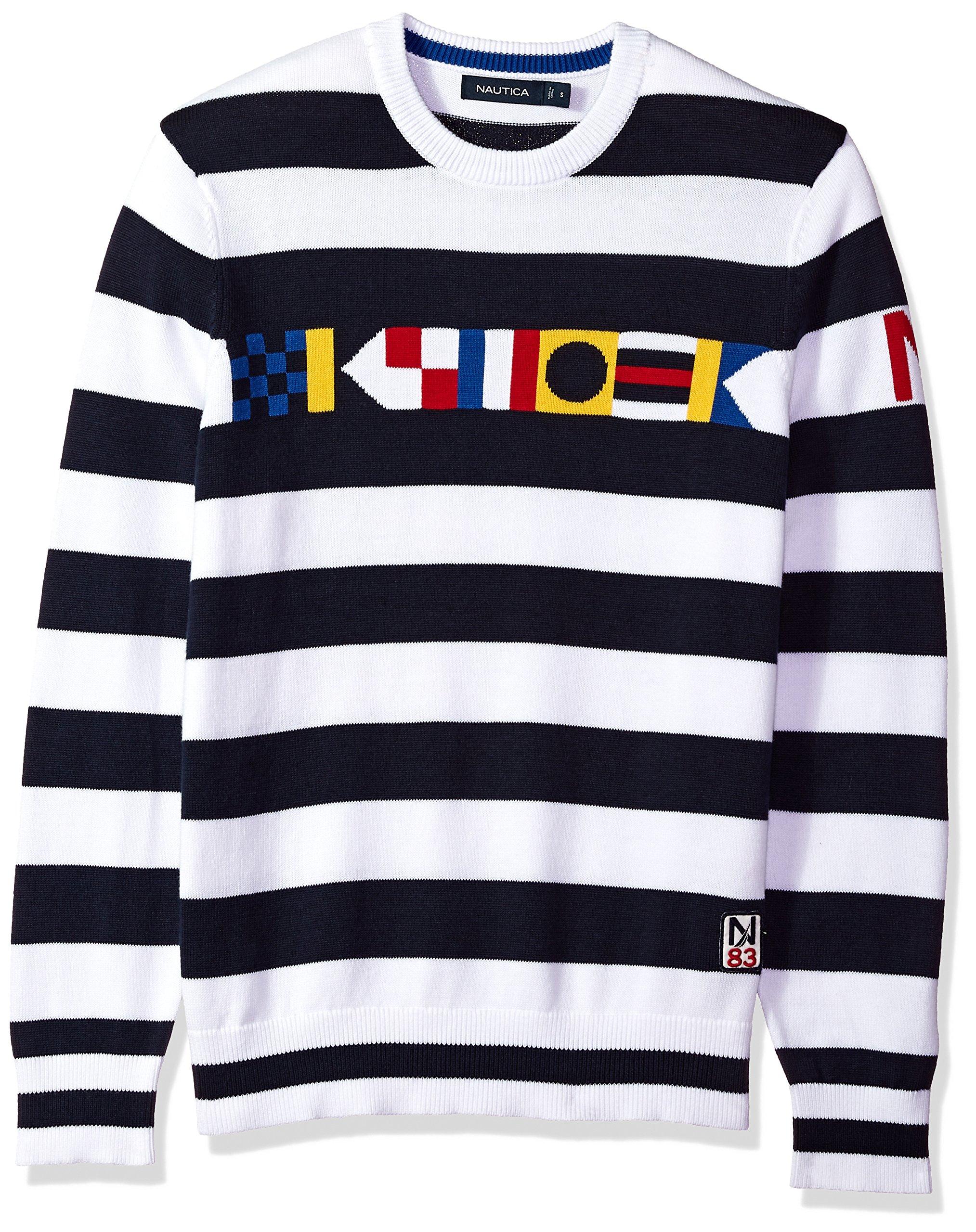 Nautica Men's Long Sleeve Signature Print Sweater, Bright White, Large