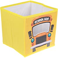 School Bus Collapsible Storage Organizer by Clever Creations   Storage Box Folding Storage   Perfect Size Storage Chest for Books, Shoes & Games