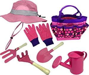 Kids Garden Set & Bucket Hat Combo: Real Metal Tools & Wooden Handles; Shovel, Rake & Pitch Fork, Pitcher, Gloves & Carrying Bag. Sure-Fit Adjustable Hat with Chin Strap & Ventilation Panels. Pink S/M