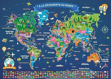 Poster Carte Du Monde Pour Enfant En Francais Grand Planisphere Mural Illustre Pays Drapeaux Animaux Monuments Decoration Murale Chambre Enfant 5 Ans 84 1 X 59 4 Cm Amazon Fr Cuisine Maison