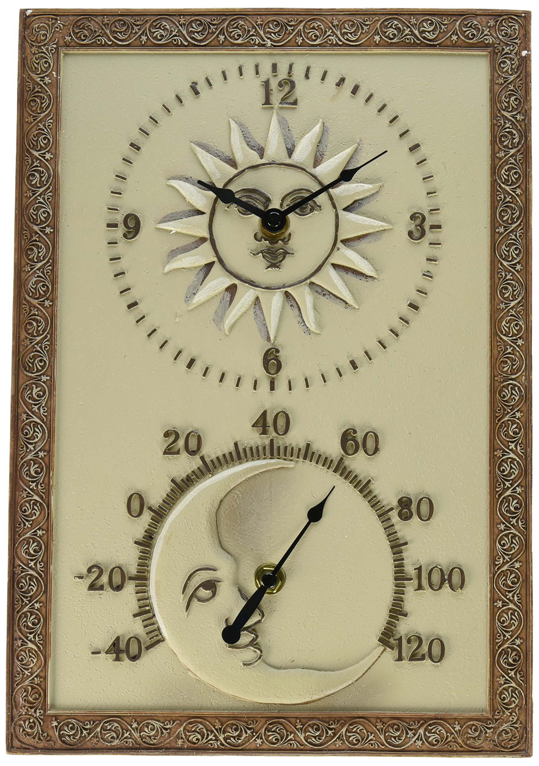 Chaney Instrument 10-Inch by 14-1/2-Inch Sun & Moon Clock/Thermometer Combo by Chaney Instruments