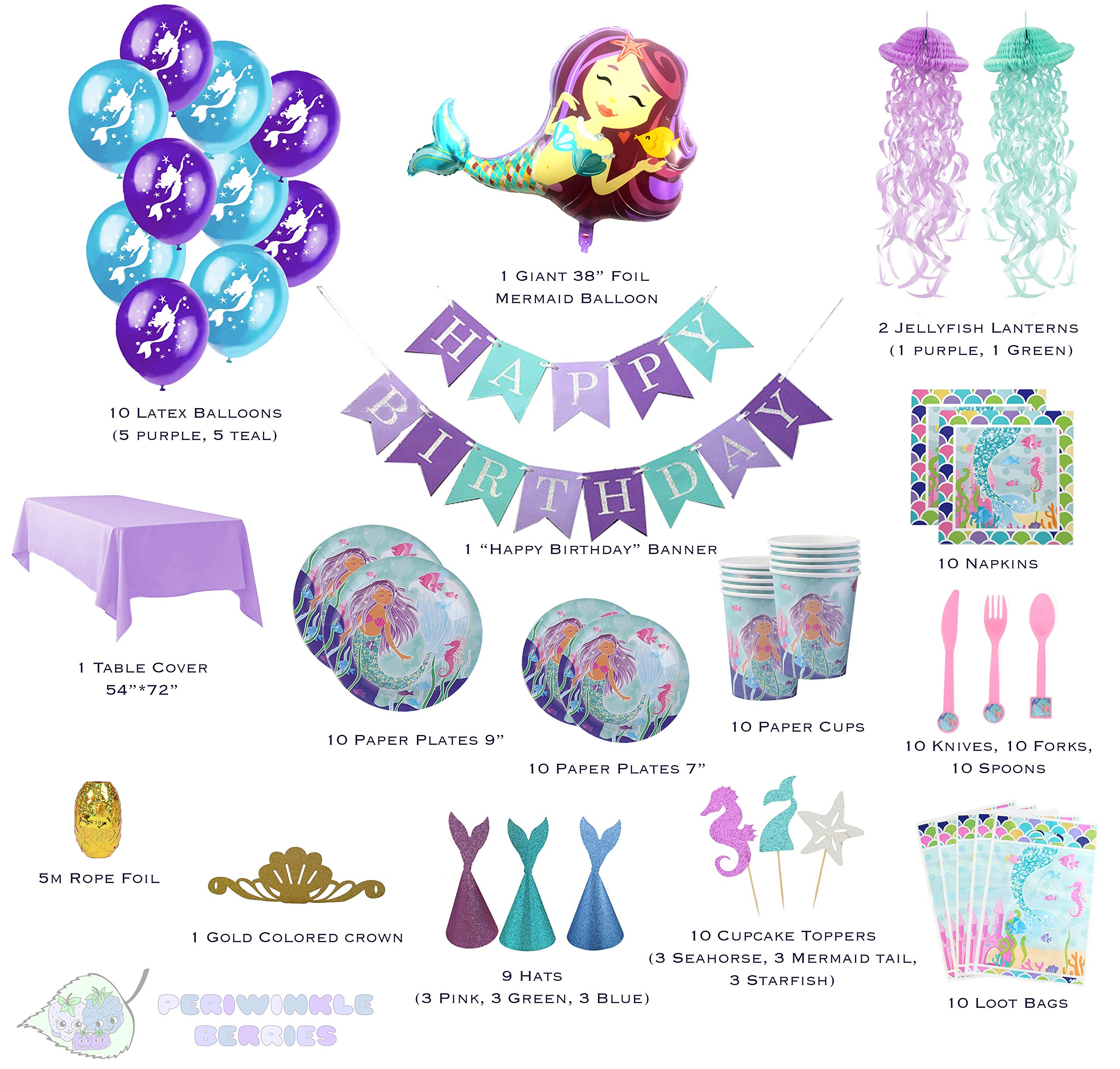 Mermaid Party Supplies - Complete Tableware and Decoration Deluxe Set - Plates, Cups, Utensils, Napkins, Table Cloth, Balloons, Happy Birthday Banner, Cupcake Topper, Favor Bags, Mermaid Hats & Crown by Periwinkle Berries (Image #2)