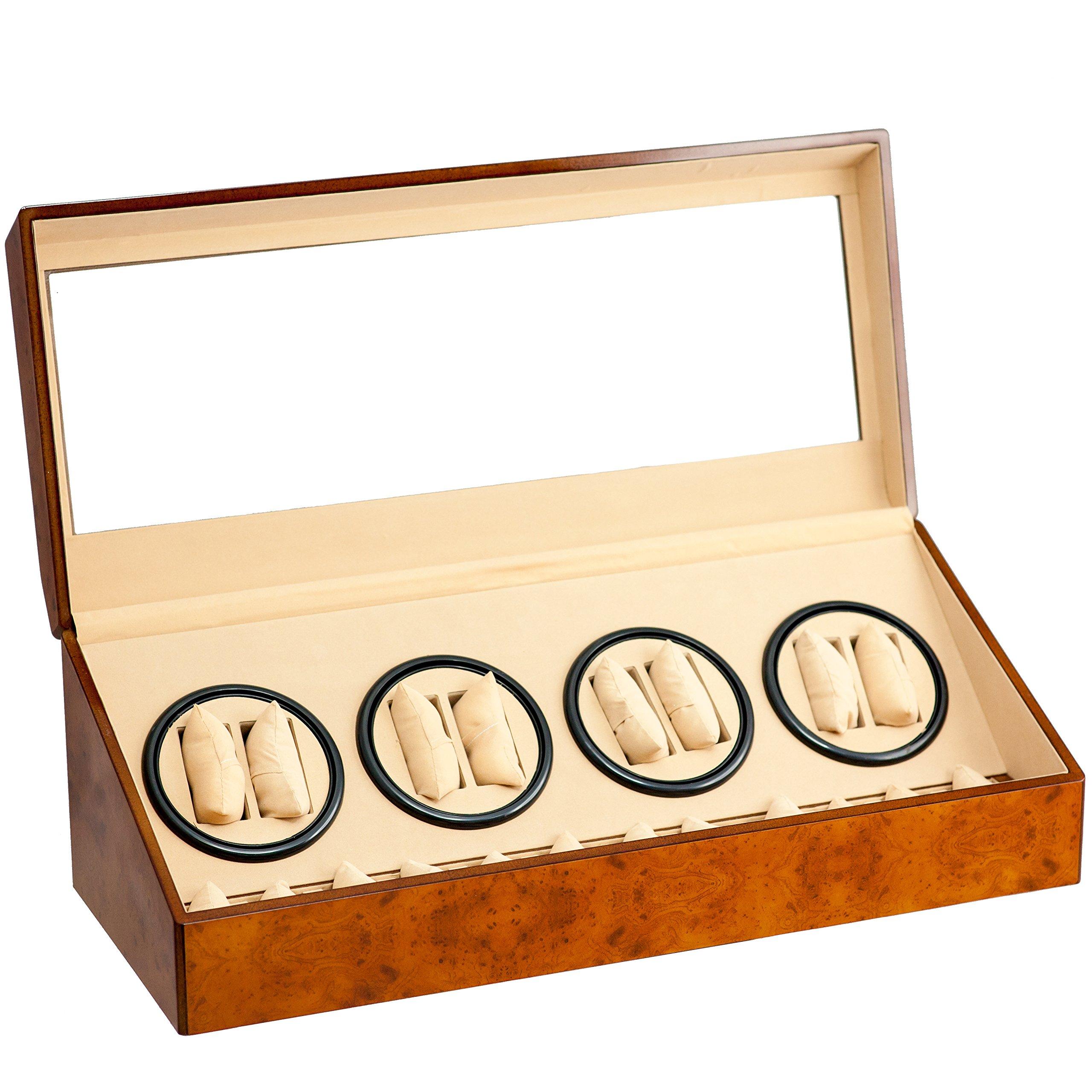 Brand New 8+12 Automatic Rotation Walnut Quad Watch Winder Storage Display Case Box Organizers