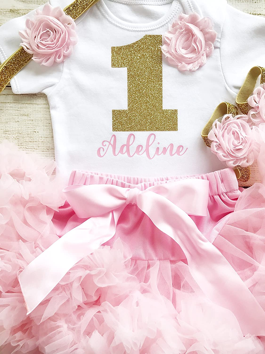 a16858b5d Personalised Pink   Gold First Birthday Tutu Outfit