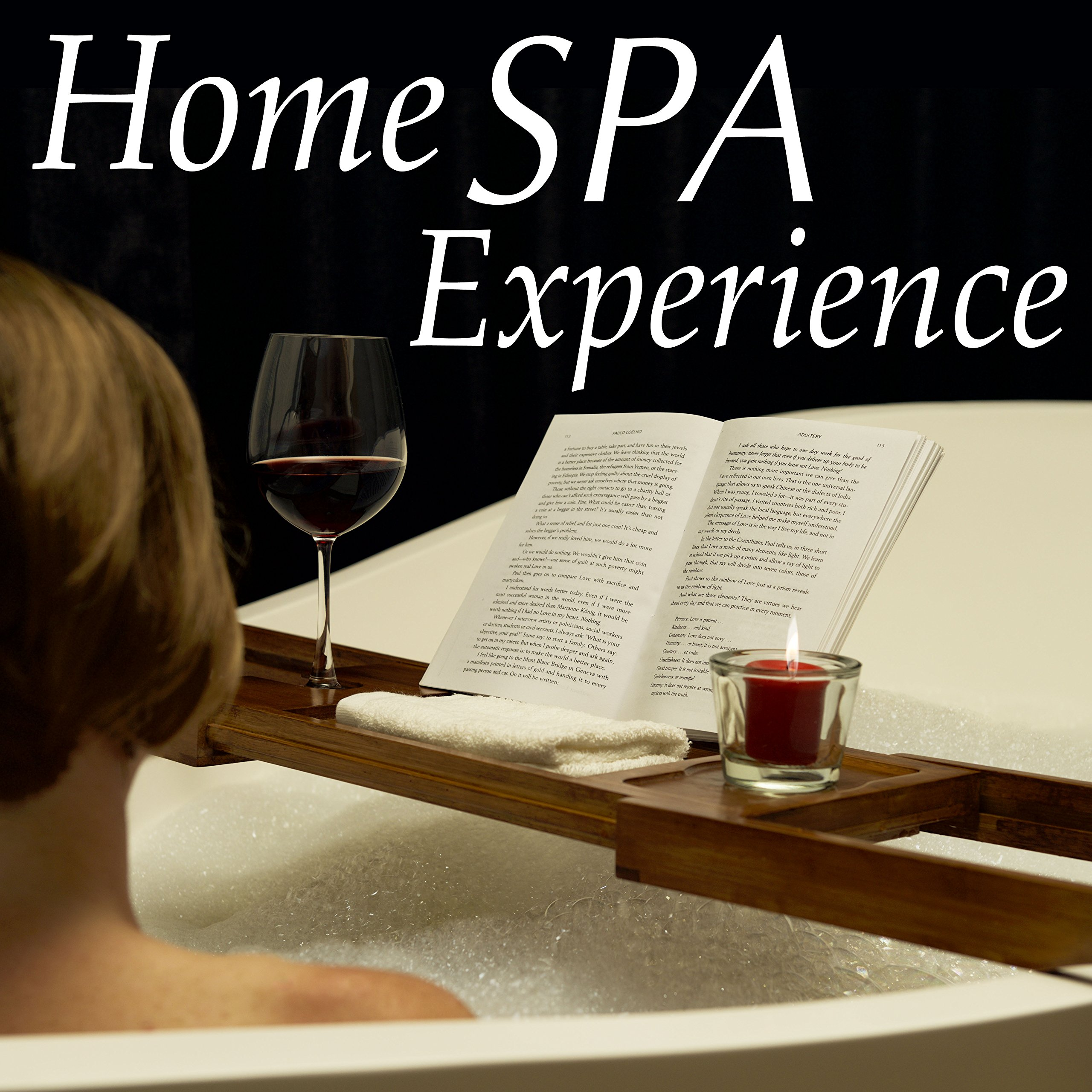 Luxury Dark Walnut Brown Bathtub Caddy, Natural Premium Bamboo Bath Tub Tray with Extending Sides, Reading Rack, Wine Glass, Book and Tablet Holder by Eden Bath (Image #3)