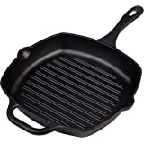 Victoria Cast Iron Square Grill Pan with Grill Lines, 10 x 10-Inch, Seasoned