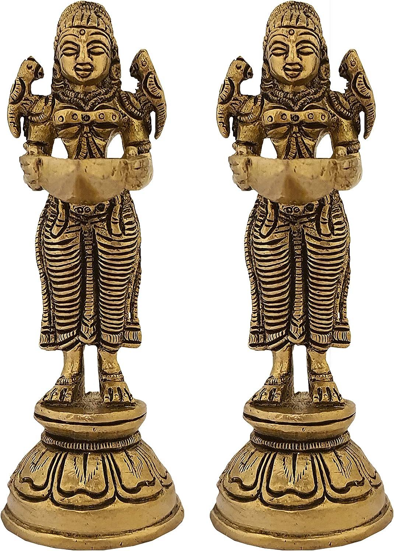 Indian Diwali Oil Lamp Pooja Diya Brass Light Puja Decorations Mandir Decoration Items Handmade Home Backdrop Decor Lamps Made in India Decorative Wicks Diyas Laxmi Deep Deepam Deepak Set of 2 - Gold