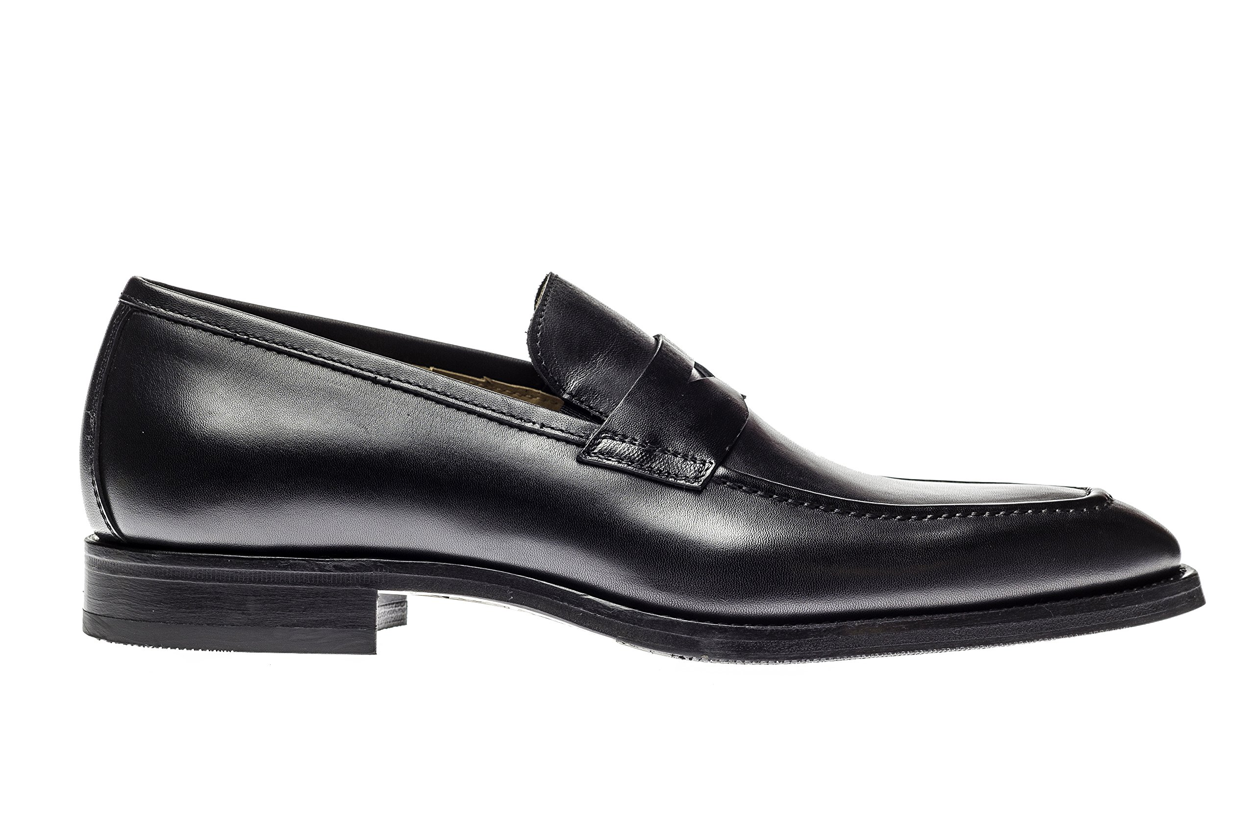 Jose Real Shoes Amberes Collection | Mens Loafer Black Genuine Real Italian Baby Calf Leather Dress Shoe | Size EU 42
