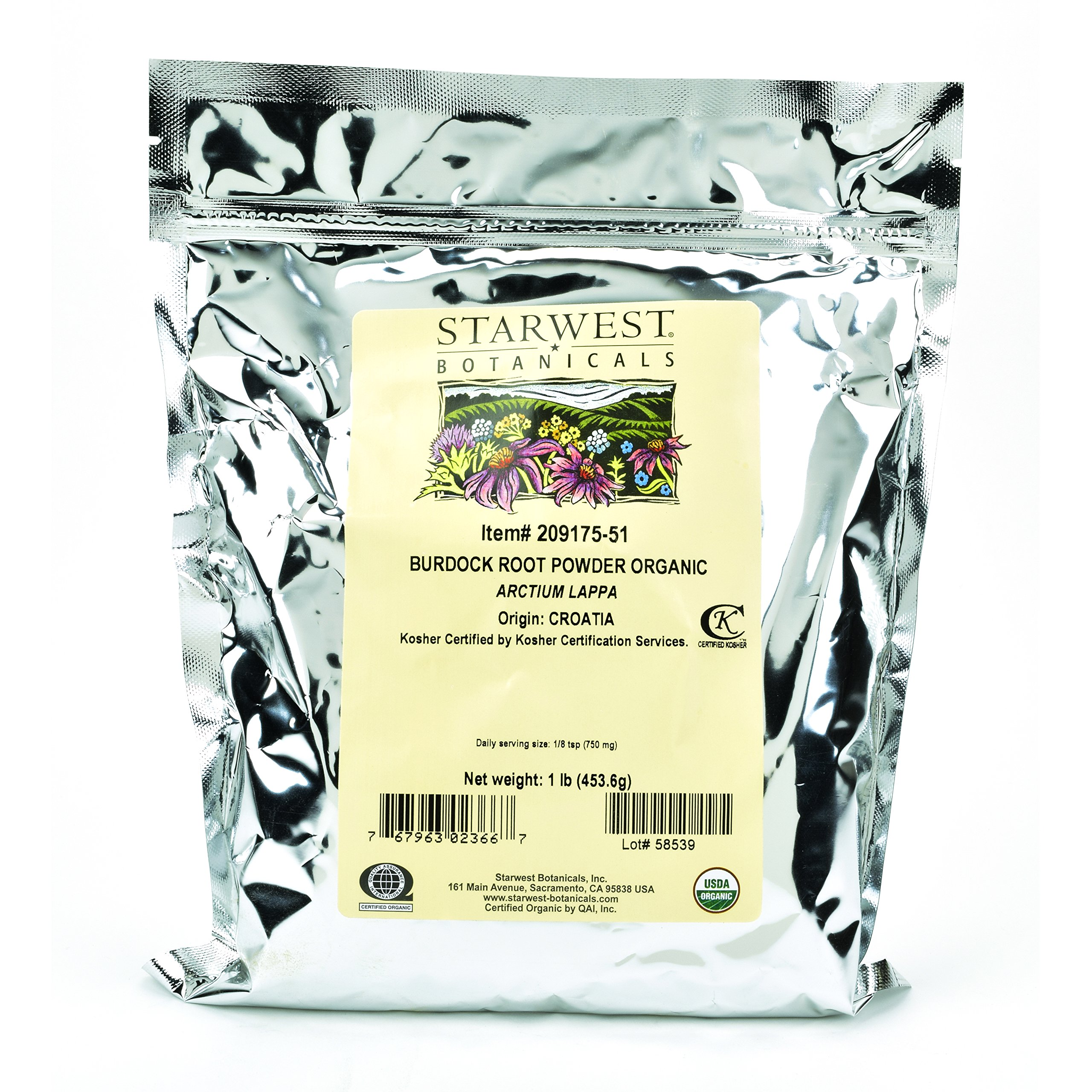 Starwest Botanicals Burdock Root Powder, 1 Pound